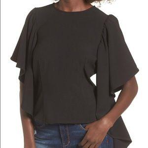 Leith unique ruffle sleeves zipper back bliuse